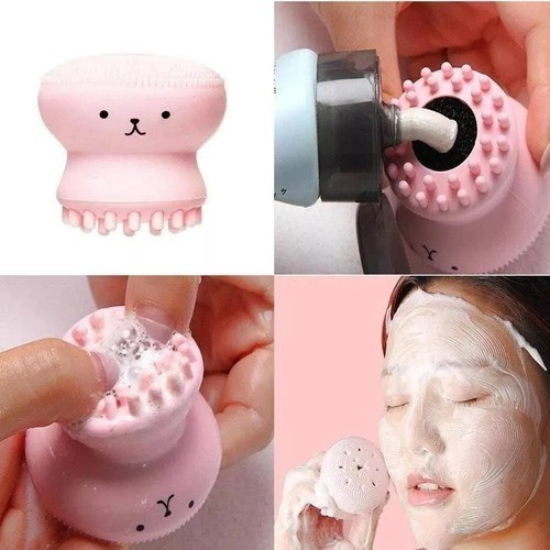 Esponja De Silicone Limpeza Facial Esfoliante Polvo Lindinho