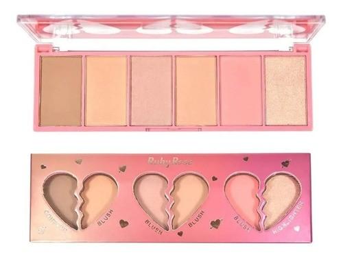 Face Kit Heart Hb-7520 Paleta Ruby Rose