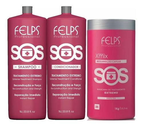 Felps Sos Kit Reconstrução 3 Produtos 2x1L + Mascara 1Kg