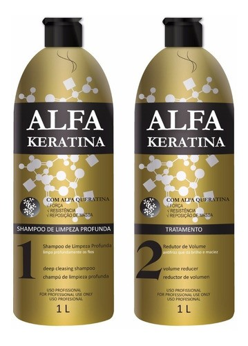 Keratina Brasil Alfa Keratina Escova Progressiva 2x1 Litro