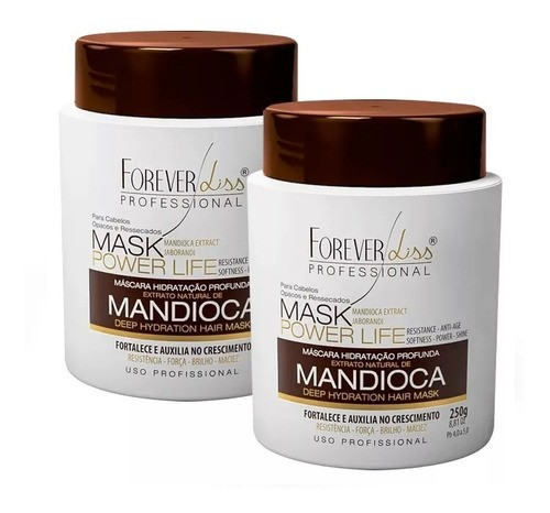 Kit 2 Mascaras Hidratante Crescimento Mandioca 950g - Forever Liss