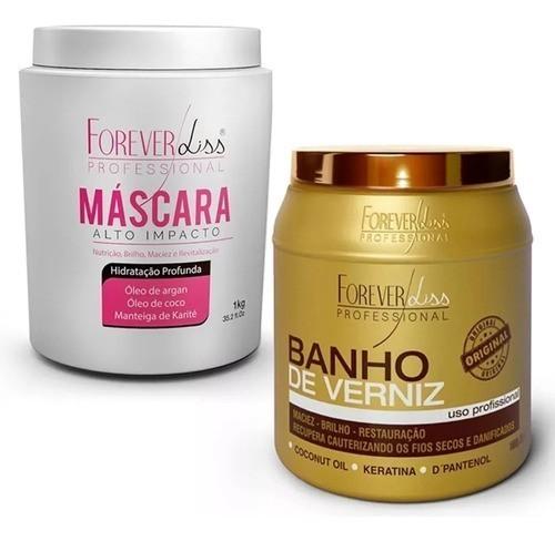Kit Banho De Verniz + Mascara De Alto Impacto 1kg Hidratação Forever Liss