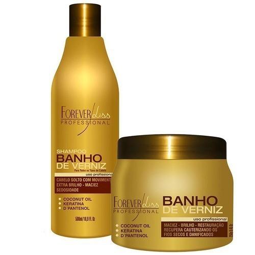 Kit Banho De Verniz Shampo 500ml E Mascara 250g
