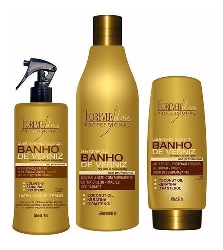 Kit Banho De Verniz Shampoo E Leve-in E Queratina Forever Li ss