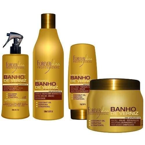 Kit Banho De Verniz  - Shampoo + leave-in + queratina + Mascara 250g