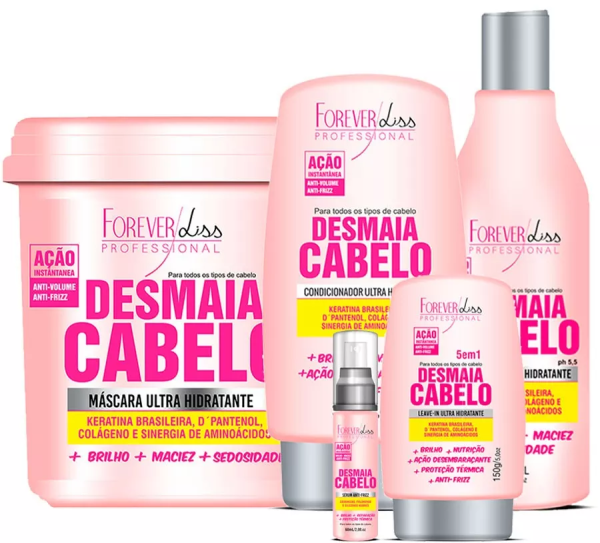Kit Completo Desmaia Cabelo Com Máscara 950g - Forever Liss