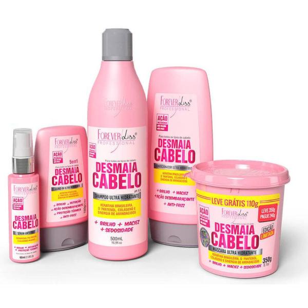 Kit Completo Desmaia Cabelo Mascara 350g - Forever Liss