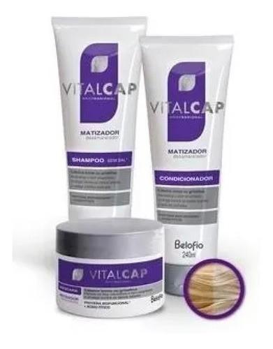 Kit Completo Matizador Belo Fio Vitalcap Shampoo + Condicionador + Mascara