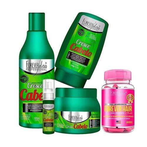 Kit Cresce Cabelo Mascara 250g + Forever Hair - Forever Liss - Todos os tipos de cabelos - Suave