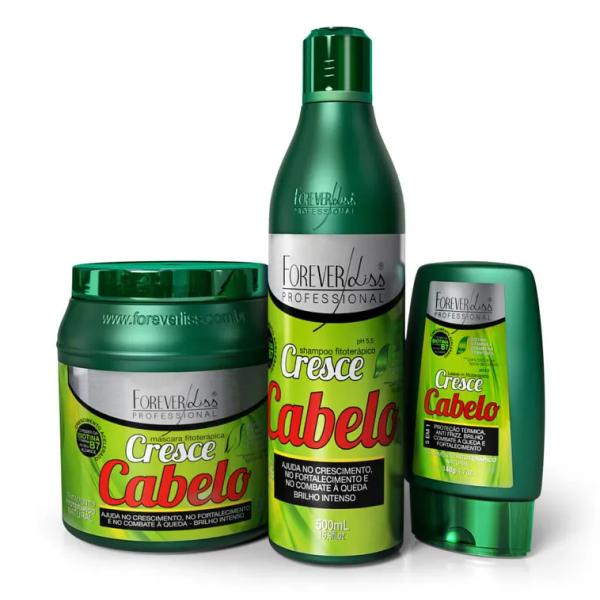 Kit Cresce Cabelo Shampoo + Máscara 1kg + Leave-in - Forever Liss