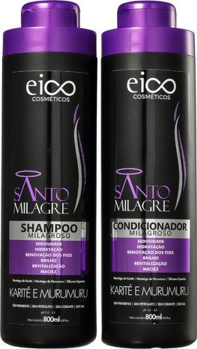 Kit Eico Santo Milagre Shampoo+condicionador 800ml Cada