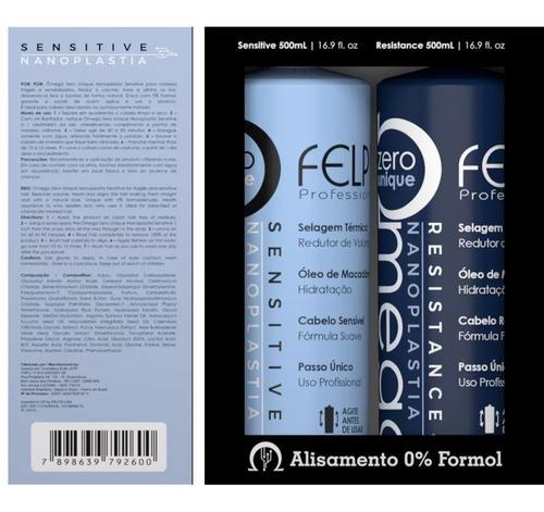 Kit Escovas Progressiva Ômega Zero Nanoplastia 2x500ml Felps