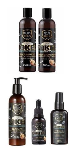 Kit Felps Men Poker Shampoo + Condicionador + Tonico + Oleo + Balm