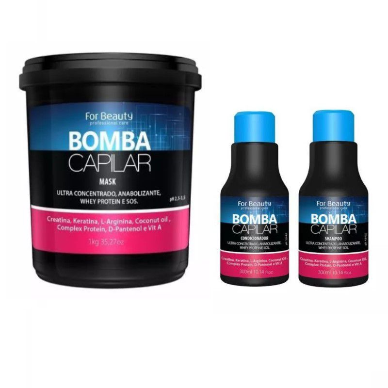 Kit Manutenção Sos Bomba Capilar Mascara 1kg - For Beauty