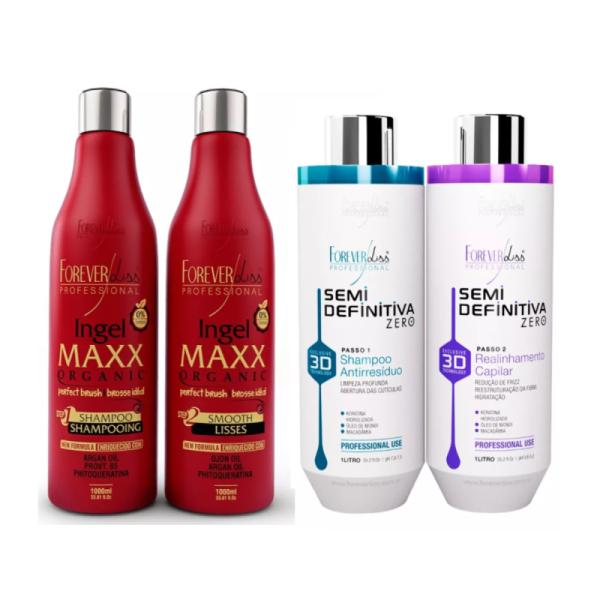 Kit Progressivas 0% Formol - Progressiva 3d + Ingel Maxx Organic - Forever Liss