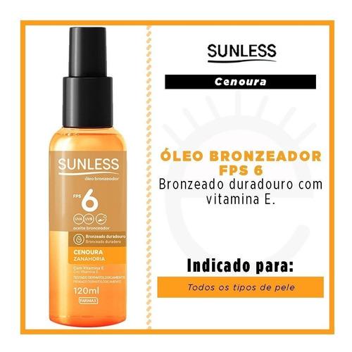 Óleo Bronzeador Sunless Cenoura E Urucum Fps 6 120ml