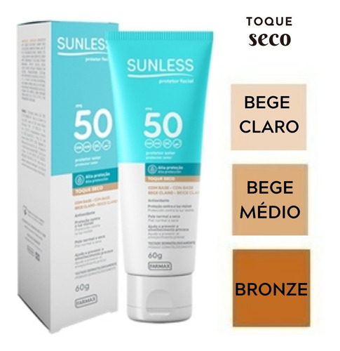 Protetor Solar Facial Toque Seco Fps-50 Com Base 60g Sunless