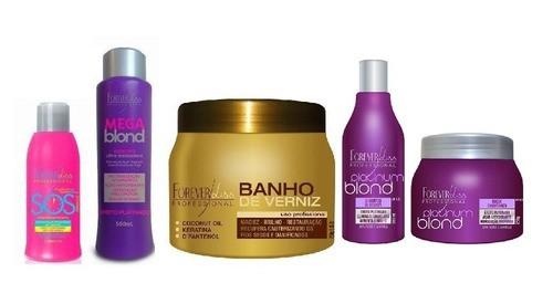 Sos 300ml + Mega Blond 500ml + Banho De Verniz 250g + Shampoo e Mascara Matizadora Platinum.