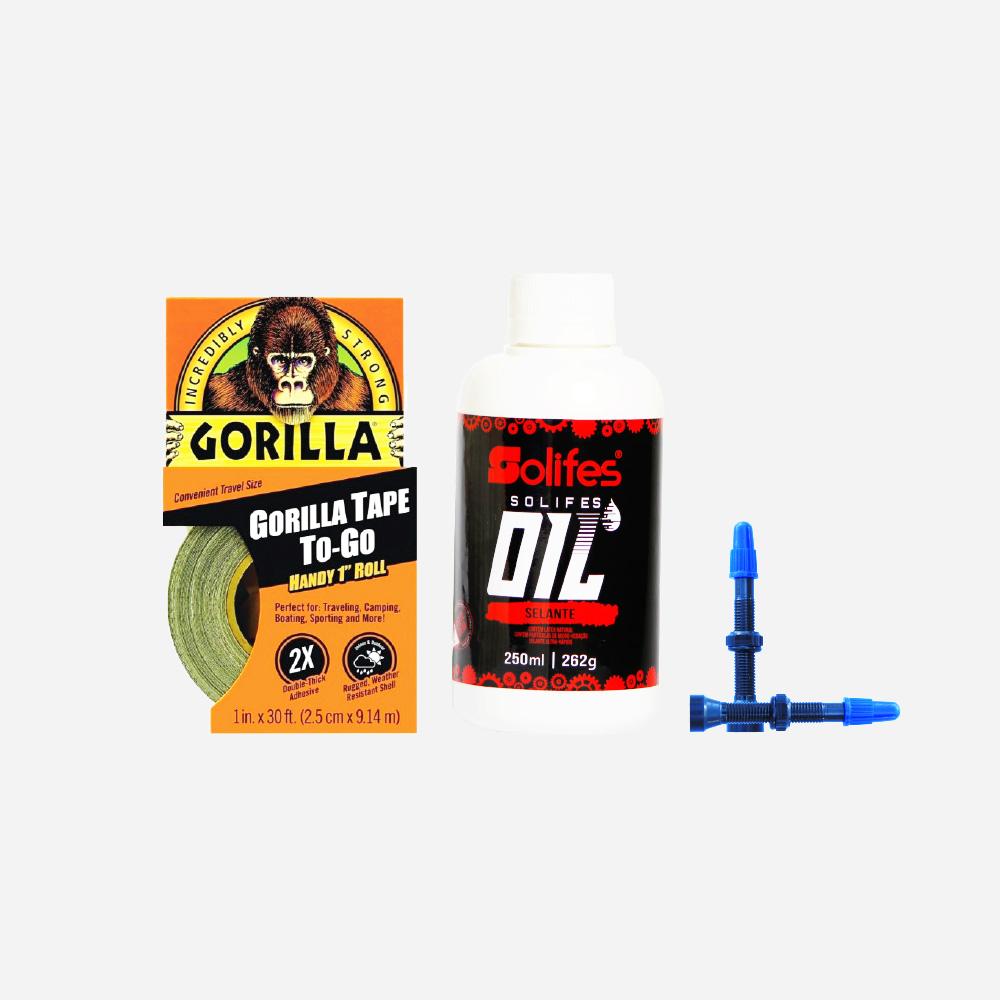 Kit Tubeless Completo Bicicleta Gorilla Tape e Solifes