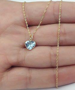 83b55f820c0c4 Colar Ponto de Luz em Ouro 18k Feminino Coração Azul