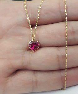 Colar Ponto de Luz em Ouro 18k Feminino Coração Vermelho 6424649ddb