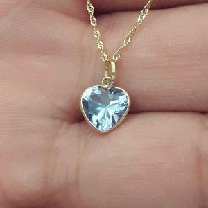 6e9fa1e4c64ee Pingente Ponto de Luz em Ouro 18k Feminino Coração Azul - 7mm