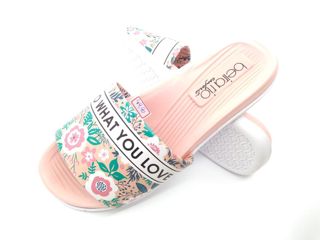 Chinelo Slide Beira Rio Rose Floral