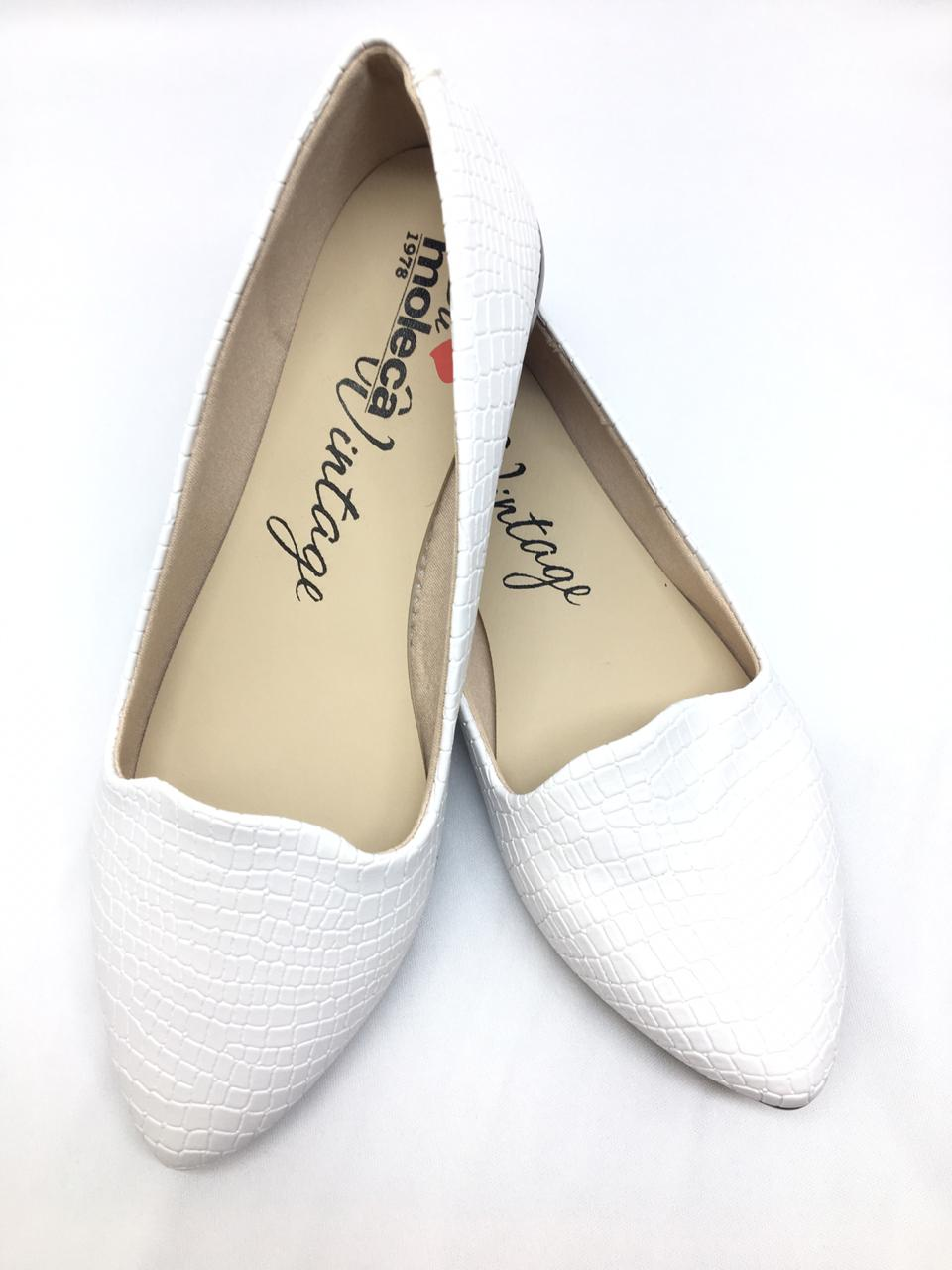 Sapatilha Moleca Branca Bico Fino