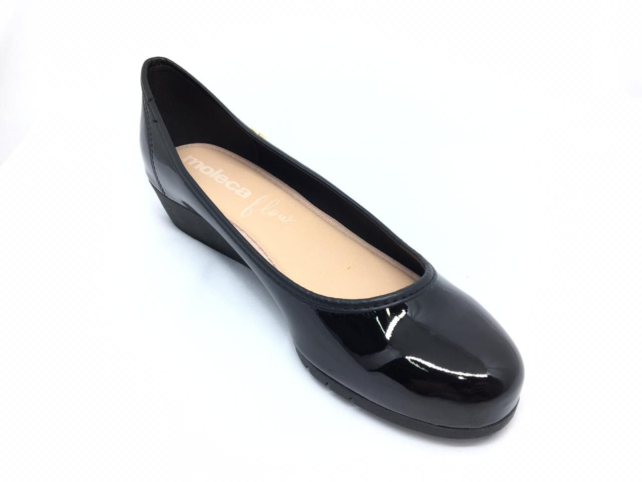Sapato Anabela Moleca Preto Verniz