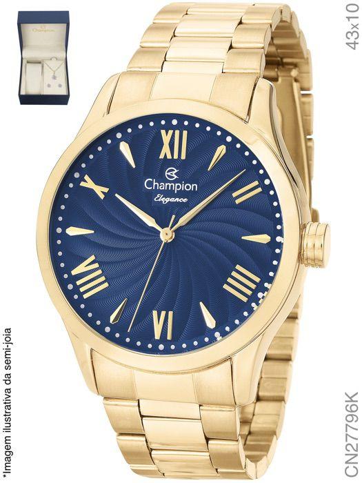 2daca0ab61f Relógio Champion Feminino + Conjunto Semi Joia CN27796K - SUPER25