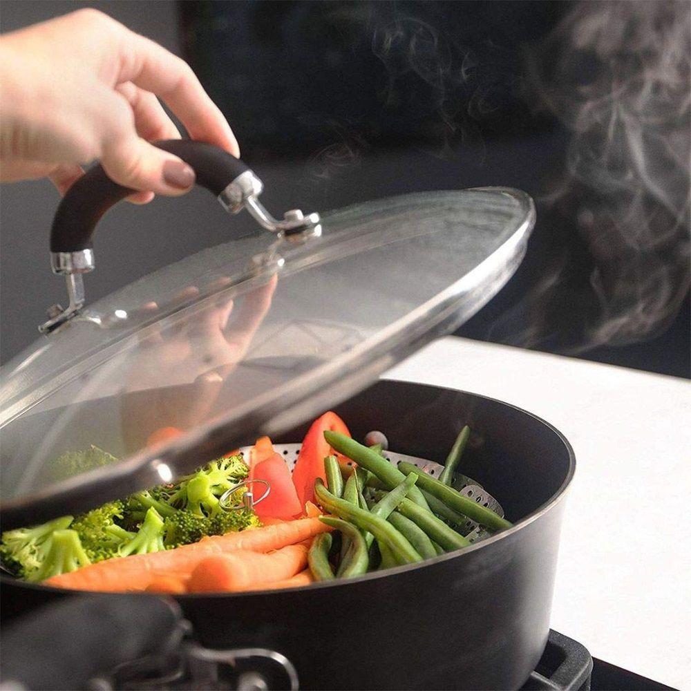 03 Cestos Cozimento a Vapor Inox Cozinha Legumes Panela 24cm