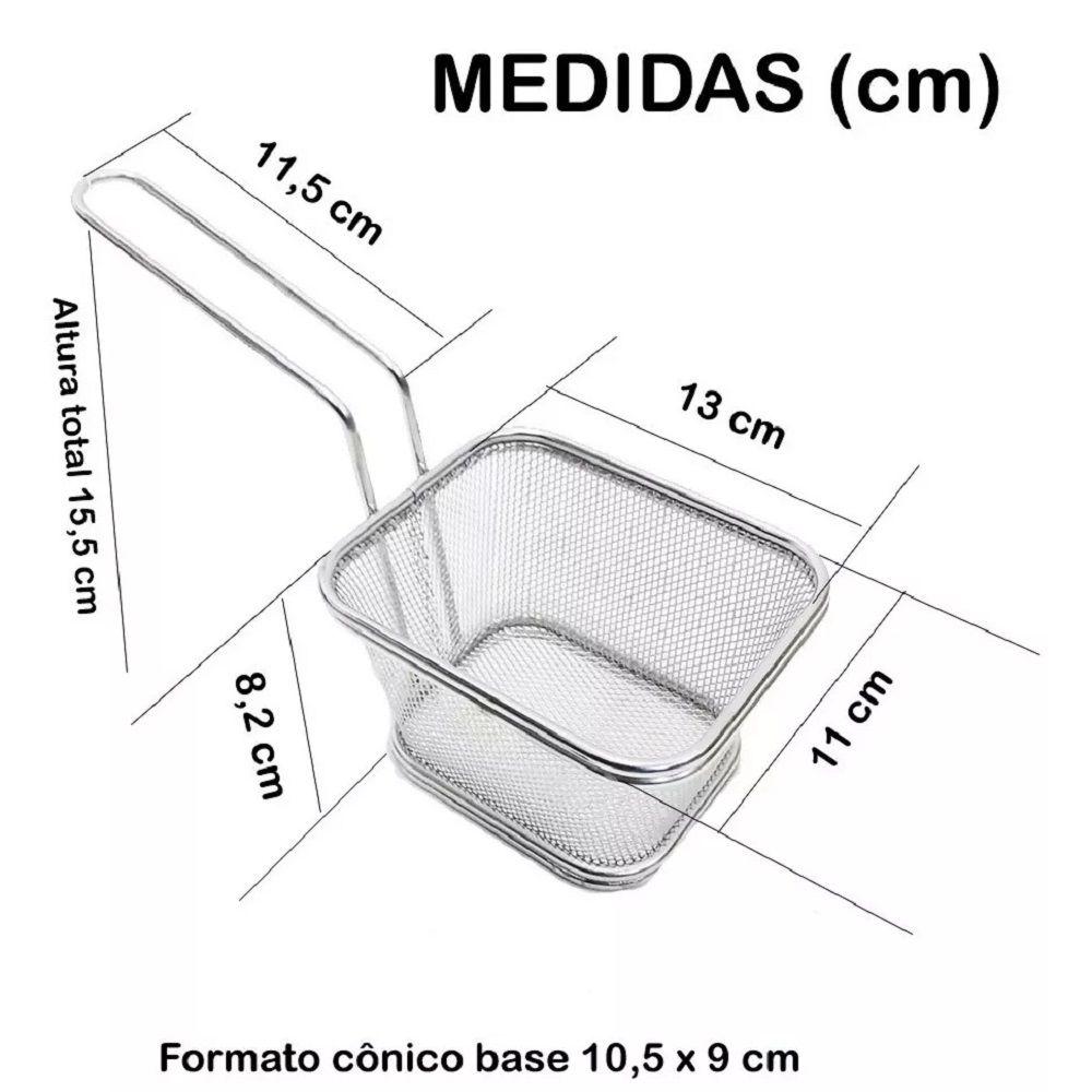 06 Cesta para Servir Porções e Petiscos em Inox 13x11x8cm