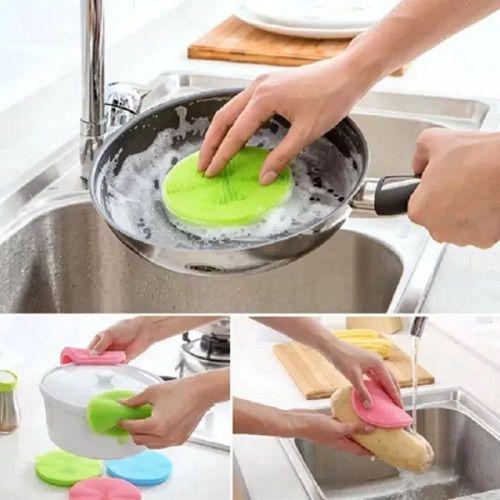 06 Esponjas Silicone Antibacteriana Buchinha Louça Cozinha