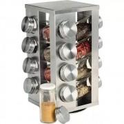 Porta Tempero Condimentos Inox 16 Potes Suporte Giratório
