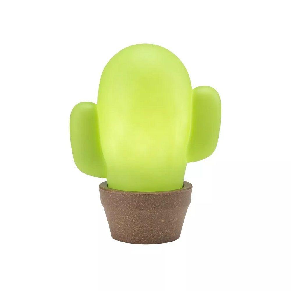 Abajur Luminária Cactos Verde com Vaso para Quarto Decorfun