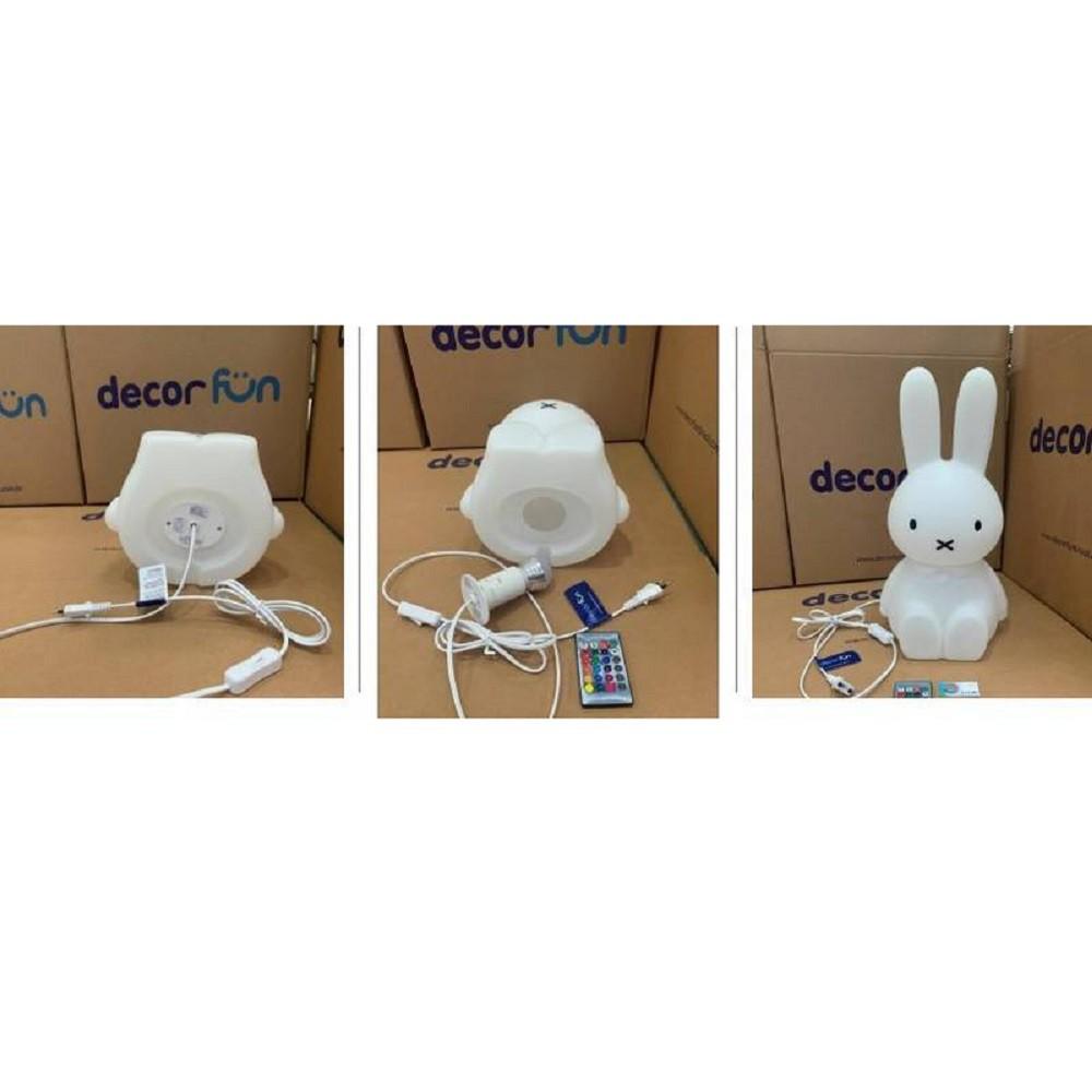 Abajur Luminária Coelha Miffy® 45cm com Fio Led RGB Decorfun