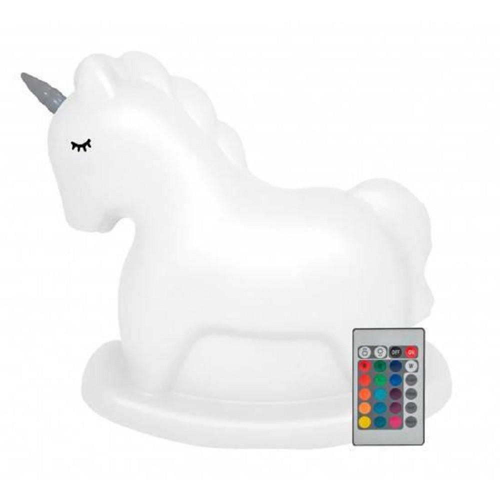 Abajur Luminária Unicornio Infantil Led RGB com Fio Decorfun