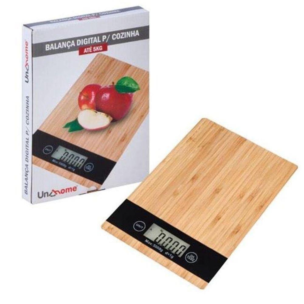 Balança Digital para Cozinha Eletrônica até 5kg Modelo Bambu