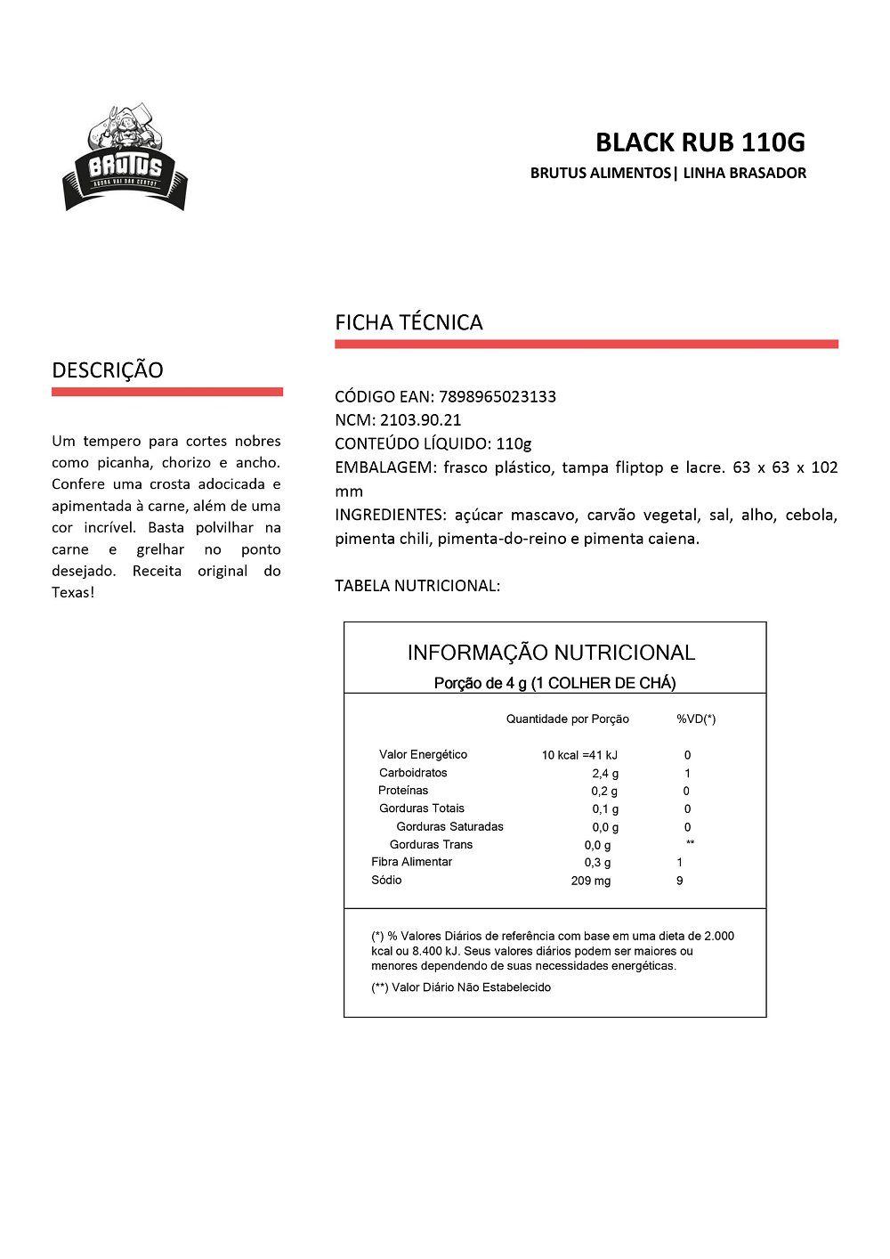 Black Rub Tempero para Bovinos Brutus 110g 06 unidades