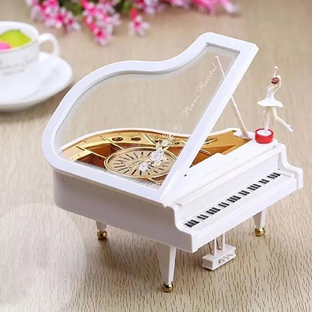 Caixinha de Musica e Porta Joias Piano com Bailarina á Corda