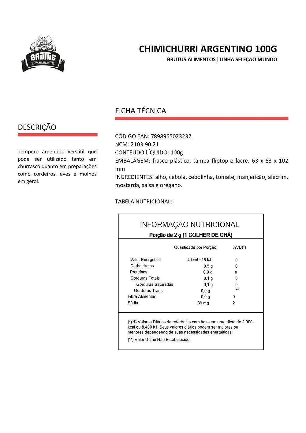 Chimichurri Argentino Tempera Molhos Churrascos Brutus 100g