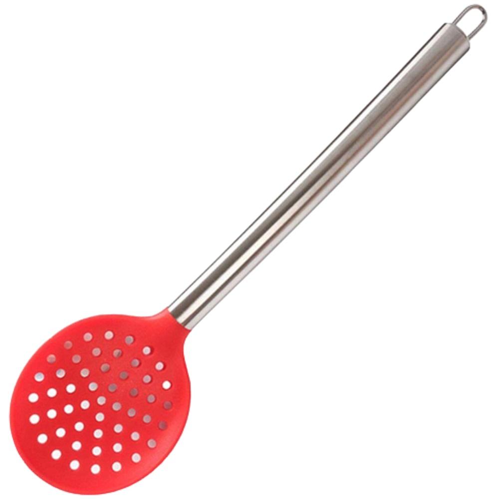 Escumadeira de Silicone Cabo de Metal 35cm Vermelha