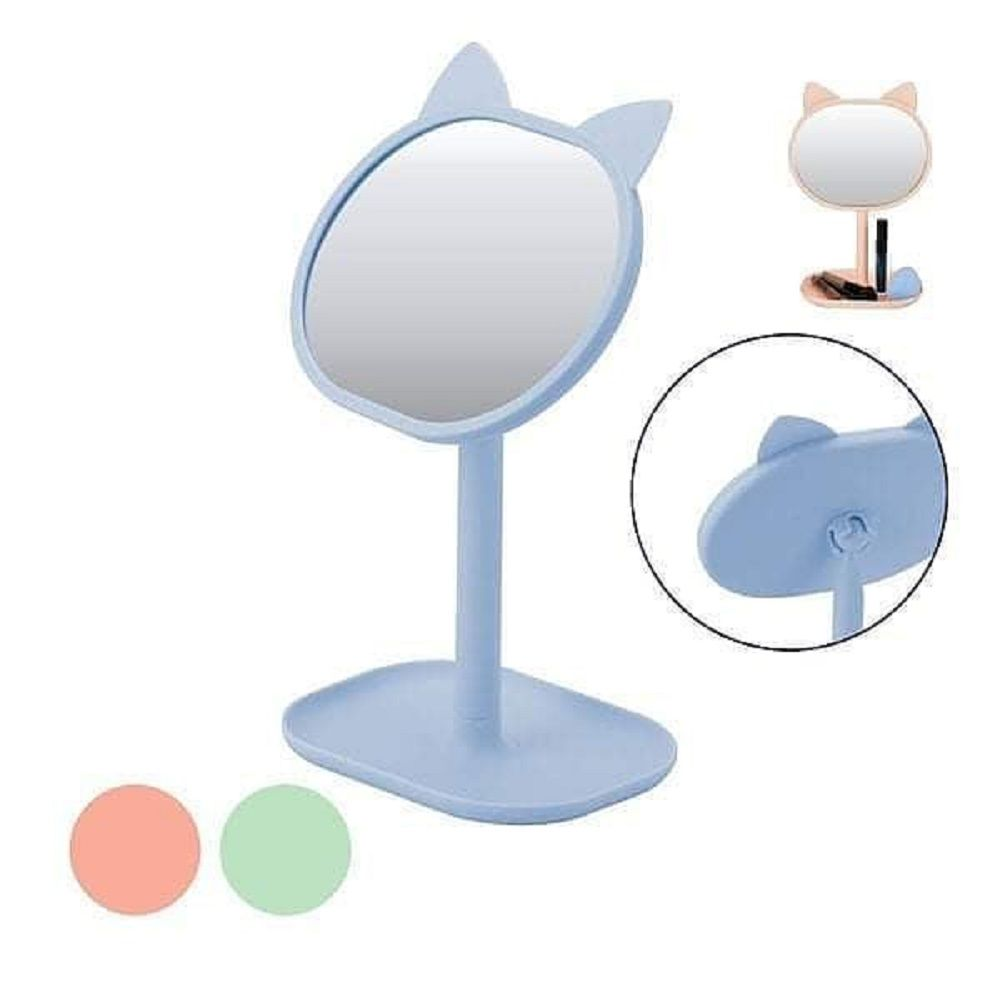 Espelho de Mesa Gatinho com Bandeja para Maquiagem