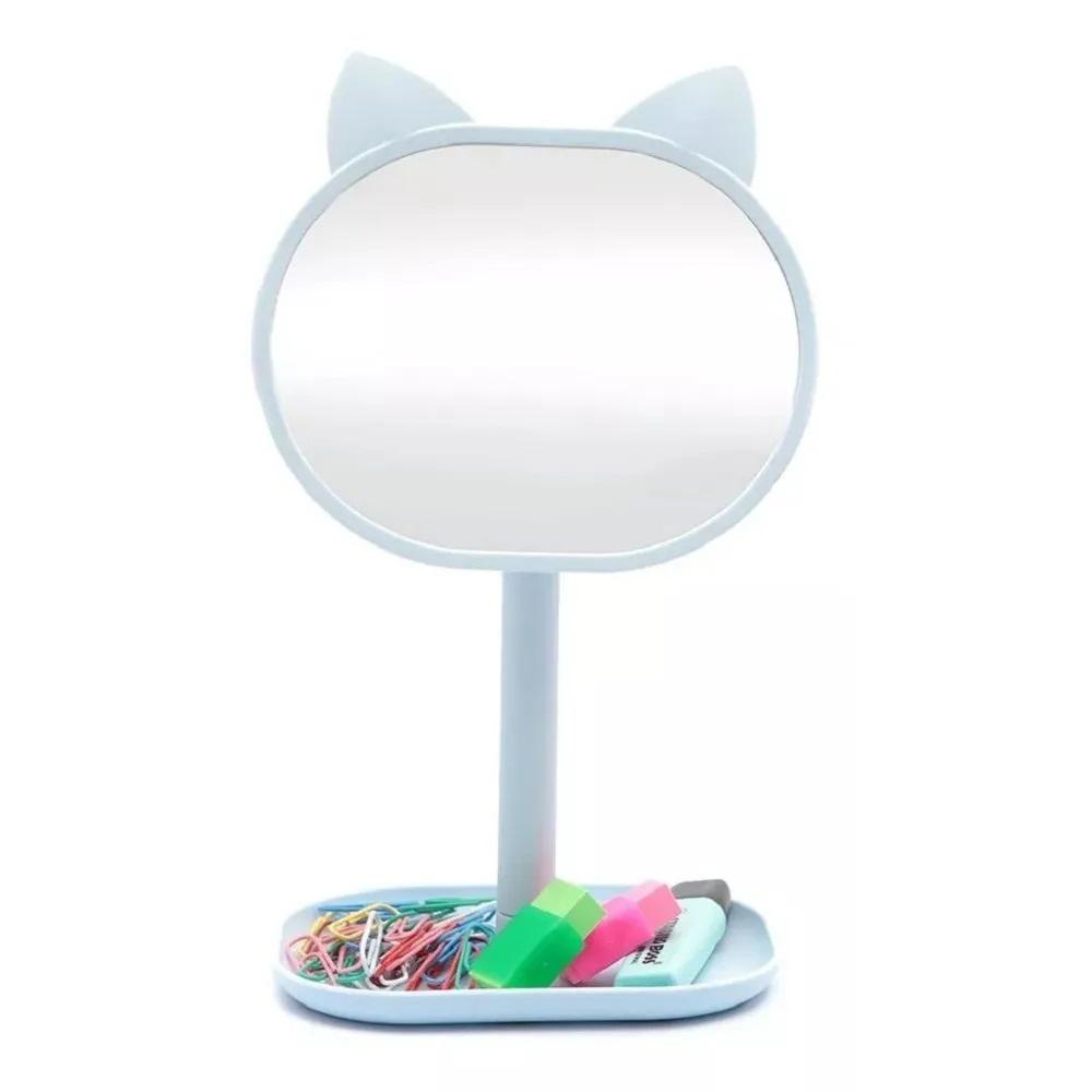 Espelho de Mesa para Maquiagem Gatinho com Bandeja