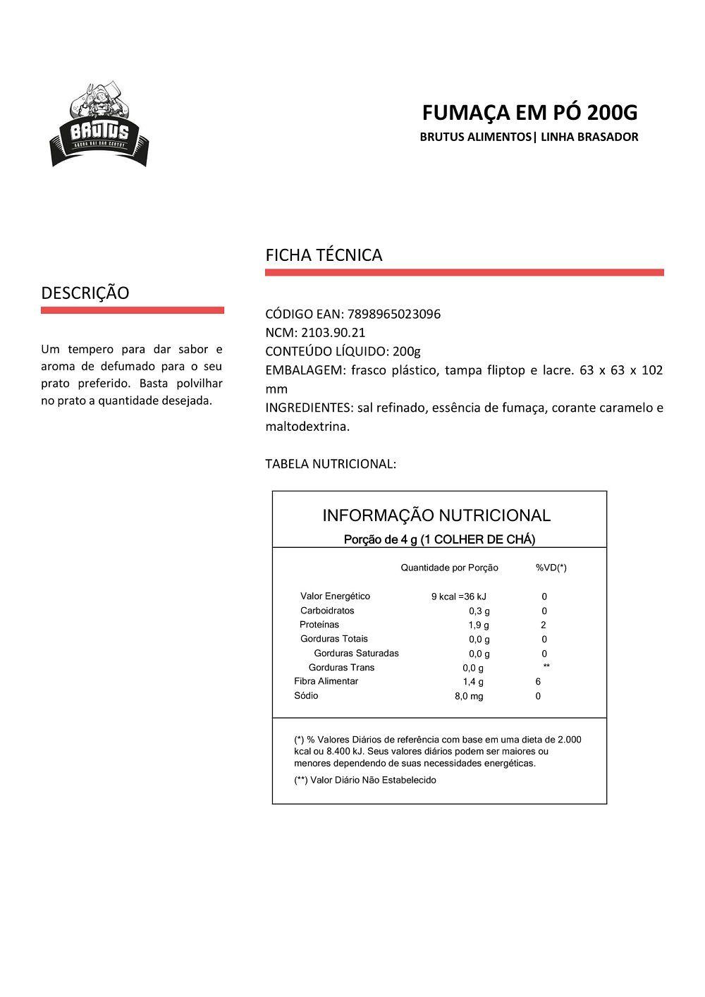 Fumaça em pó Brutus 200g Aroma e sabor defumados 03 unidades