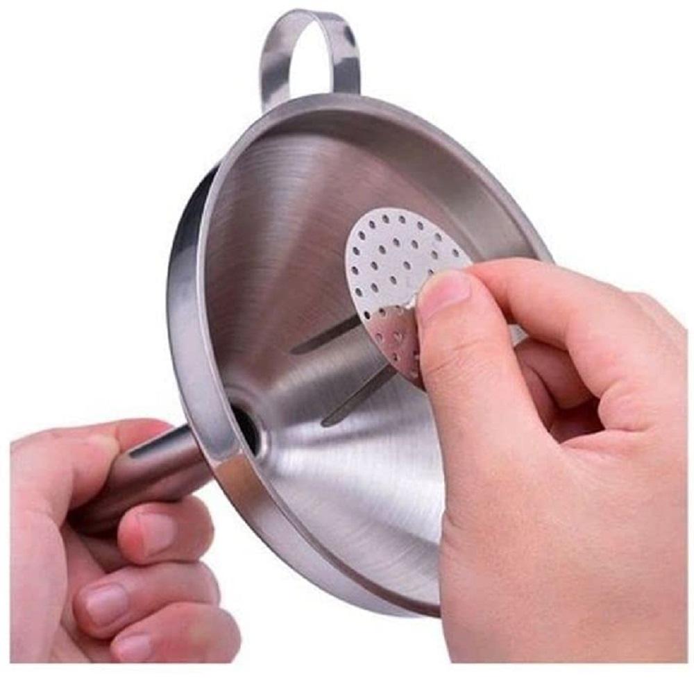 Funil Aço Inox Peneira Removível 11cm Filtro Suco Chá Óleo