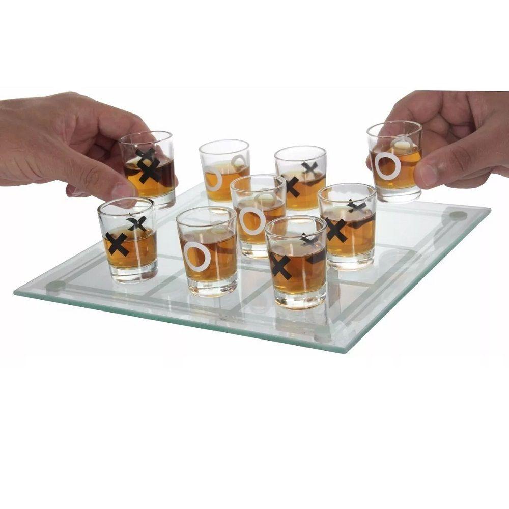 Jogo da Velha Tabuleiro e Copos de Vidro 25ml Drink Bebida