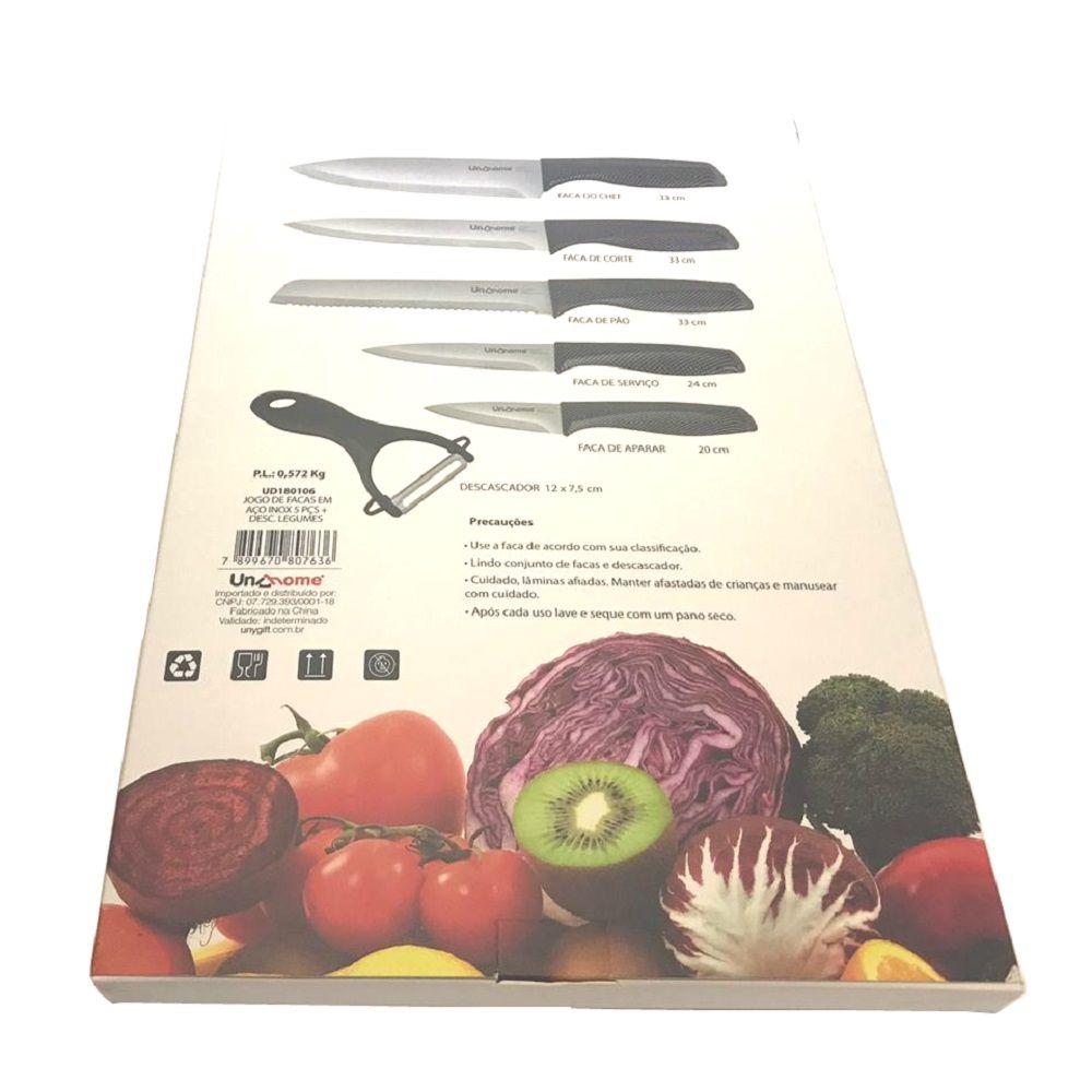 Jogo de Facas em Aço Inox 5 peças + Descascador de Legumes