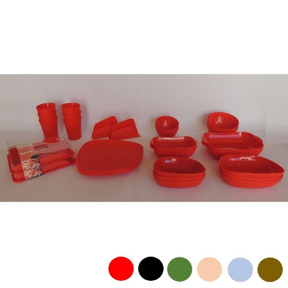Jogo de Louça Plastico Pratos Copos Travessa 34 pçs