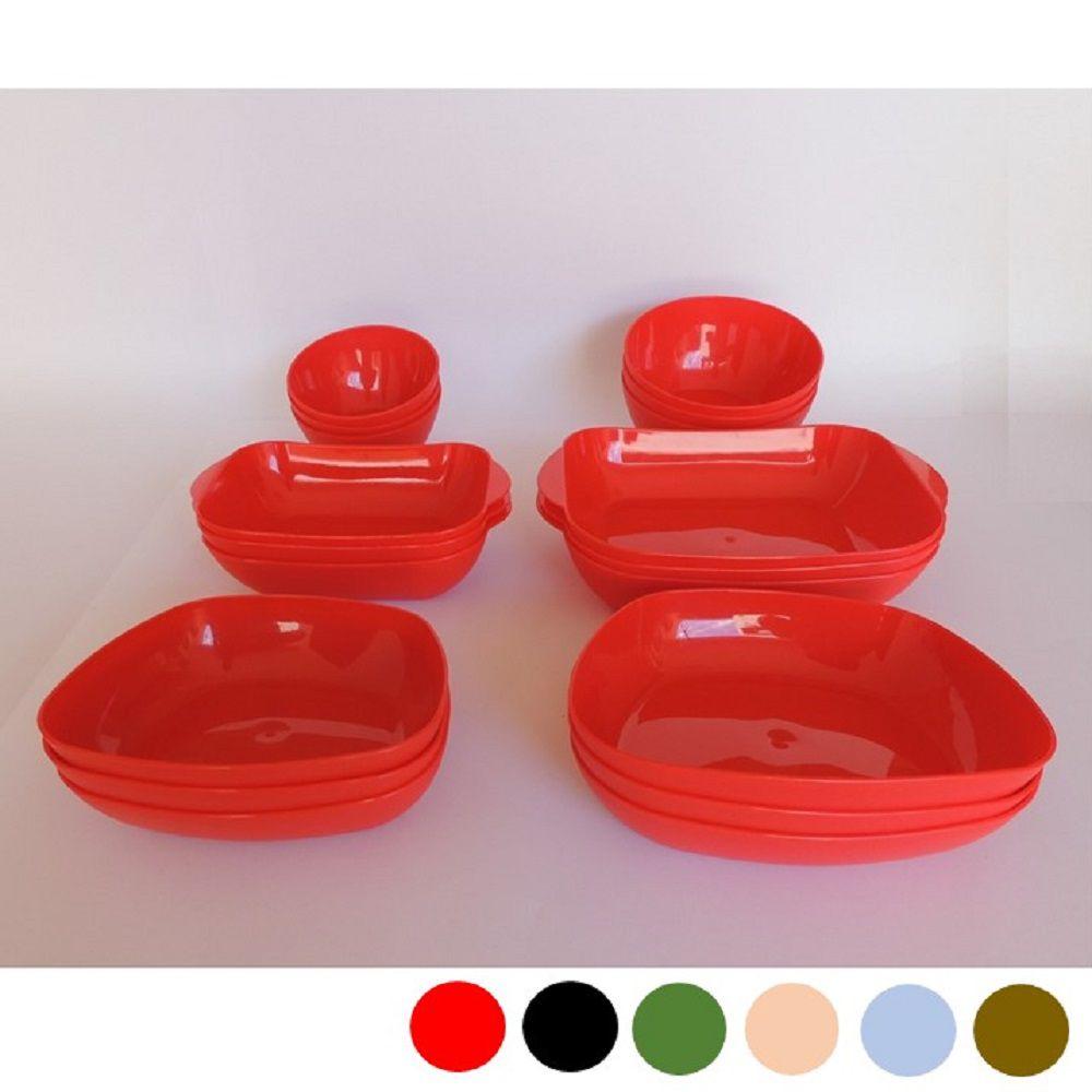 Jogo de Louça Plastico Resistente Travessa 18 peças